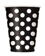 BLACK POLKA DOTS - 6 Paper Cups - (12oz) Spots Birthday Party