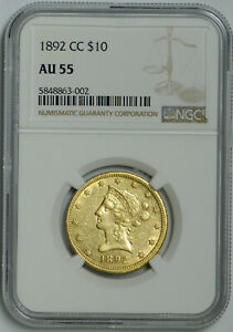 1892 CC $10 Gold Liberty Head Eagle AU 55 NGC *Superb!*