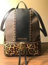 Michael Kors Rhea Medium Studded Logo and Leopard Calf Hair Backpack /