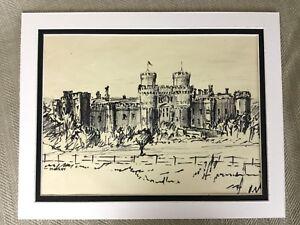Original Drawing Sketch Herstmonceux Castle English England British Art