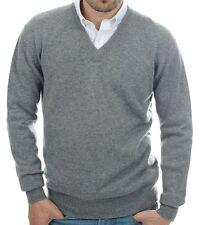 Balldiri 100% Cashmere señores suéter escote en V 4-fädig gris XXXL