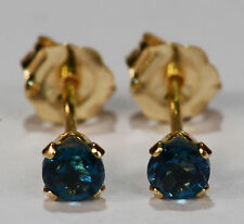 PETITE! GENUINE NATURAL MINED LONDON BLUE TOPAZ EARRINGS~ 14 KT YELLOW GOLD~3MM