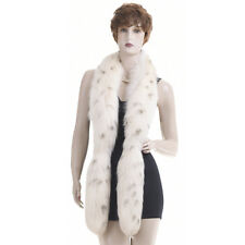 Mint! Luxury! Sensual Russian Snow Lynx Spotted Real Fox Fur Scarf