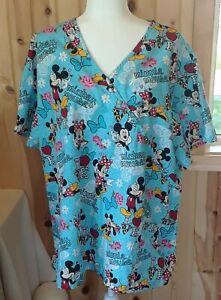 Disney Love Mickey Minnie Mouse Blue Wrap Style Scrub Top Size 3x/3xG