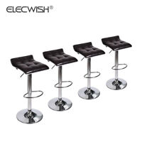 Set Of 4 Counter Height Pub Bar Stool Swivel Adjustable Seat PU Leather Brown