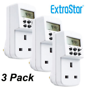 Digital LCD Display UK Plug In Programmable Timer Switch Socket 24hr 7Day 3PACK