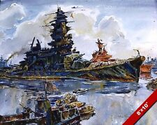 JAPANESE BATTLESHIP NAGATO PAINTING WWII MILITARY HISTORY WAR ART CANVAS PRINT