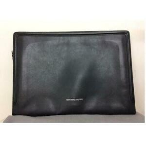 Alexander McQueen Leather Clutch Bag Case Logo Zipper Dark Gray Men's From Japan