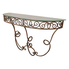 1920s French Gilded Metal Console with Glass Top