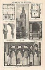 B0081 Arte araba - Xilografia d'epoca - 1901 Vintage engraving