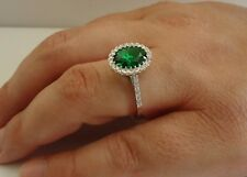 925 STERLING SILVER LADIES RING W/ 4 CT LAB DIAMOND & EMERALD  /SIZE 5 TO 9