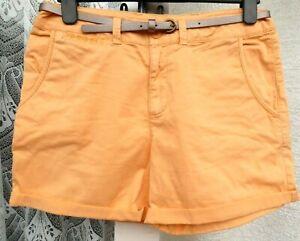 """( Ref 6313 ) TU - Size 12 W 32"""" - Orange Cotton Summer Shorts Plus Belt"""