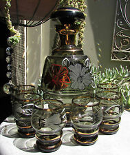 STUNNING VINTAGE RETRO BOHEMIA GLASS DRINKS SET 7 PCE DECANTER LIQUEUR