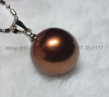 """Pretty! 16MM Brown south sea shell pearl round pendant necklace 17"""" AAA Grade"""