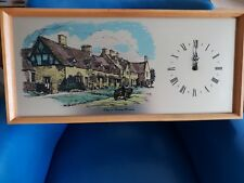 Vintage picture Wall Clock 70s/80s 'COTTAGES AT BROADWAY WORCESTERSHIRE'