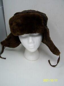 "MOCKBA Vtg. 1975 Beaver Fur Trapper Russian Hat4"" flap  Small   21"" around head"