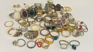 Fashion Rings Lot of 60  - Mostly Vintage Rhinestone Gemstone Gold Silver Tone