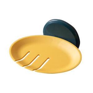 Soap Dish Drain Plate Sponge Holder Wall Mount For Bathroom Self Adhesive Tray