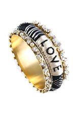 Shourouk Kashmiri Gold Tone Crystal Black White Love Bangle Bracelet