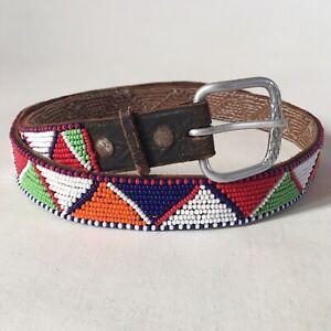Maasai Tribe Multicoloured Glass Beadwork/Beading Leather Belt Tribal Art Kenya