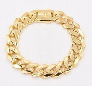 15mm Miami Cuban Royal Link Plain Shiny Box Clasp Bracelet Real 10K Yellow Gold