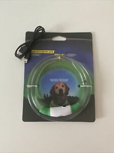 """LED Safety Necklace Green Dog Collar 12""""-27"""" Weather Resistant"""