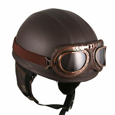 Goggles Vintage German Style Retro Brown HALF Helmet Motorcycle scooter bike