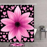 Pink Flower Hearts on Black Bath Mat Waterproof Fabric Shower Curtain Multi Size