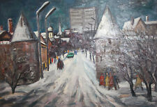 Vintage large oil painting cityscape winter street