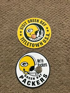 """GREEN BAY PACKERS Vintage CHAMPIONSHIP 1960s Decals Stickers 5"""" Dia TITLETOWN"""