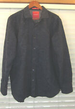 Tommy Bahama Shirt Navy Blue Floral Embossed Long Sleeve Large L