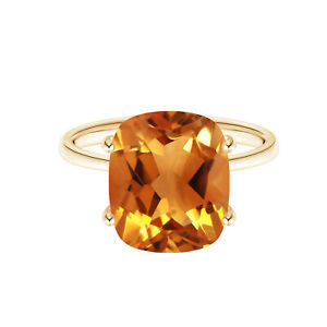Prong Set 9K Yellow Gold 2.05 Cts Cushion Cut Citrine Women Solitaire Ring