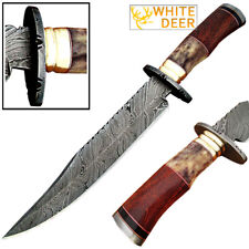 White Deer Damascus Steel Texas Bowie Knife 13in Buffalo Bone & Hardwood Handle