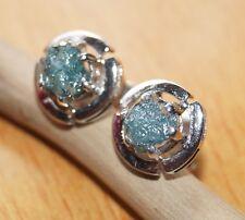 1.21 ct Natural Green Blue Diamond Raw Diamond Rough Diamond Earring 925 Silver