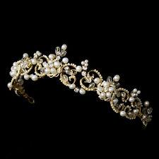 Head Piece #8090 Victorian Freshwater Pearl & Crystal Tiara