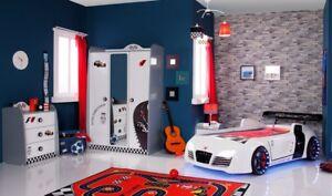 Kinderzimmer Autobettzimmer TURBO 3 weiß mit Turbo V8 Autobett, SPARSET 4-teilig
