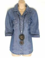 Women's Vintage M&S MODE 3/4 Sleeve Fitted Blue Denim Jean Blouse Shirt Top UK14