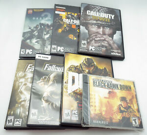 Lot of 7 PC First Person Shooters Call of Duty Warfare,Black Ops,Doom,Black Hawk