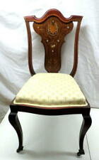 Antique Inlaid Mother of Pearl Lady's Desk Vanity Side Chair Mahogany Victorian