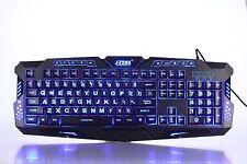 Tri-colour Large Print Backlit Backlight Led Lighted Illuminated Wired Keyboard