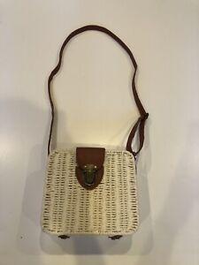 "111421 Beach Bag Woven Straw Rattan Shoulder Crossbody handbag 71/4""X23/4""X6.5"""