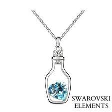 Collier chaîne argenté pendentif bouteille coeur Swarovski® Elements zircon bleu