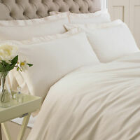 DUVET COVER SET FROM GREAT KNOT EGYPTIAN SATEEN COTTON WHITE IVORY SINGLE DOUBLE