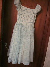 1950s gown,very rare,size 8.White with jade green embossed flowers.