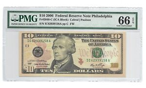 2006 $10 PHILADELPHIA FRN, PMG GEM UNCIRCULATED 66 EPQ BANKNOTE