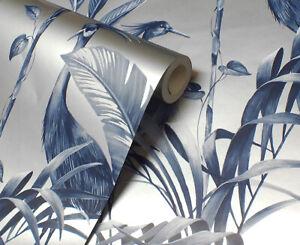 Navy/Silver, Modern Tropical Theme, Birds & Leaves Wallpaper