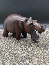 Vintage Hand Carved Solid Dark Wood Hippopotamus Hippo Decor Sculpture Figure