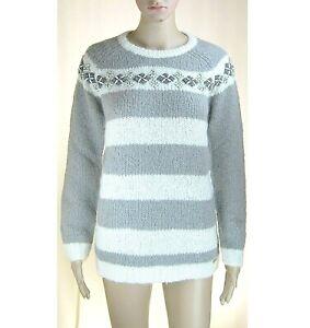 Pullover Maglione Ragazza/Donna Maglia TWINSET L084 Grigio/Bianco Tg XS-14anni