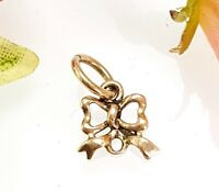 Vintage Small 9 CT Gold Ribbon Bow Pendant or Charm