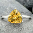 Natural Golden Citrine 925 Sterling Silver Ring s.6.5 Jewelry E806